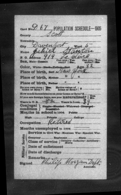 1905 Jehial Stanton - Population Schedule (1)